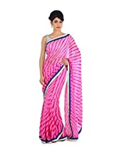 Geroo pink pure Georgette leharya saree with blouse piece