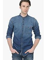 Blue Slim Fit Casual Shirt Basics