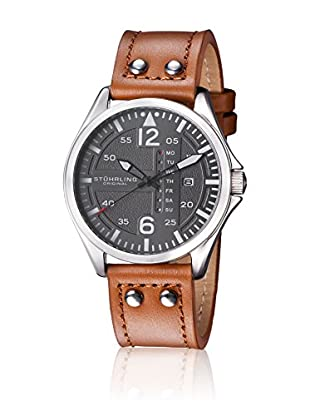 Stührling Original Uhr mit Japanischem Quarzuhrwerk Aviator 699.02 braun 44  mm