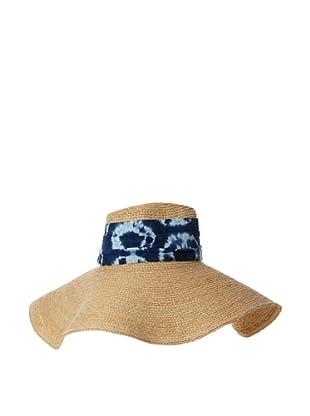 Florabella Women's Batik Band Hat, Natural/Indigo