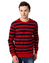 Allen Solly Navy And Red Striped Full Sleeve T Shirt