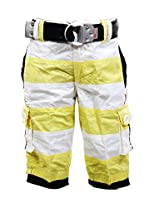 Fingerchips Boys Yellow Colour Striped 3/4th Shorts with matching belt (waist 36 )