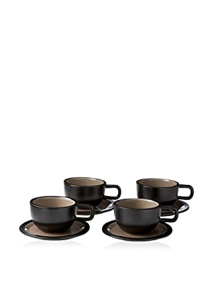 Kate Spade Saturday Set of 4 Low Teacups & Saucers, Black/Stone