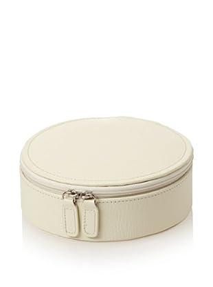 Morelle & Co. Jennifer Leather Round Zippered Jewelry Box (Creamy White)