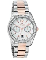 Titan Purple Multi-Function Analog White Dial Women's Watch - 9963KM01J