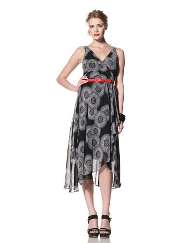 Eva Franco Women's Camille Sleeveless V-Neck Surplice Dress (Black Lantern)