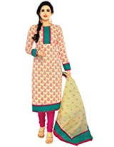Salwar Studio Beige & Pink Cotton Dress Material with Dupatta ShreeGanesh-317