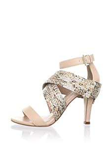 Rebecca Minkoff Women's Bombshell Strappy Sandal (Metallic Snake/Pink)