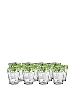 Artland Mingle Set of 12 Double Old Fashioned Glasses, Green