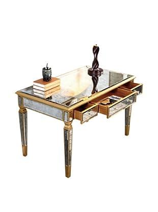 Florentine 3-Drawer Desk, Gold Leaf/Antique Mirror