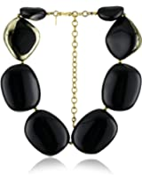 "Kenneth Jay Lane ""Black and Gold"" Leaf Pebble Necklace"