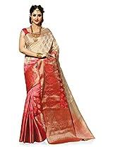 Meghdoot Artificial Silk Saree (SIYAA_MT1274_TASSARxCHERRY Woven Beige and Red Colour Sari)