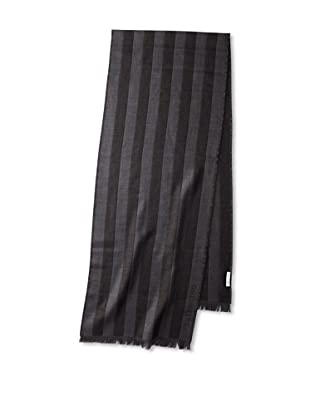 Valentino Women's Striped Wool Scarf, Dark Grey