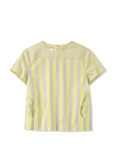 kicokids Girl's Jewel-Neck Short Sleeve Blouse (Citrus)