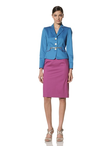 Tahari by A.S.L. Women's Color-Blocked Skirt Suit (Peacock/Raspberry)