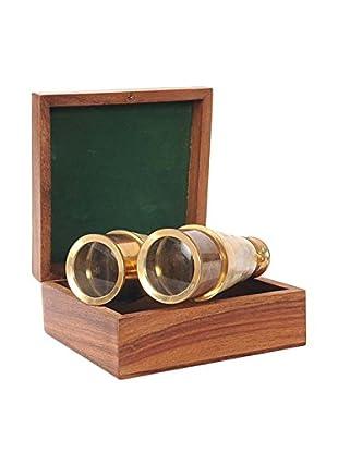 Old Modern Handicrafts, Inc. Polished Brass & Mother-of-Pearl Binoculars