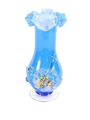 Art Glass Vase, circa 1960's, Blue/White/Clear