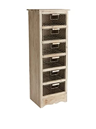 Napa Home & Garden Rustic Wooden 6-Drawer Chest (Washed Brown)