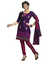 SGC Purple Cotton Embroidery unstitched churidar kameez (R-9081)