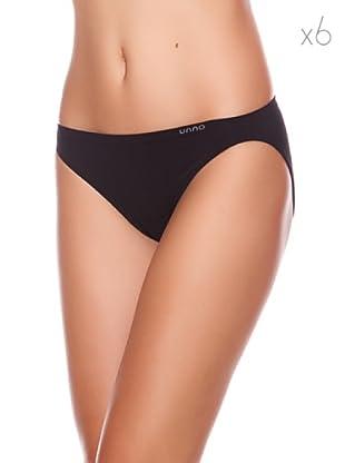 Unno Bikini Talle Bajo Pack 6 (Negro)