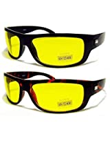 HD High Definition Vision Driving Sunglasses WrapAround Yellow Night Lens