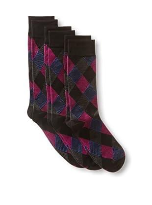 2xist Men's Dress Crew Socks Diamond Argyle - 3 Pack (Black)