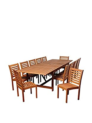 Amazonia Sterling 13-Piece Eucalyptus Extendable Rectangular Dining Set, Brown
