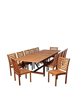 Amazonia Sterling 13-Piece Eucalyptus Extendable Rectangular Dining Set, Brown