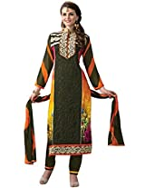 Vibes Womens Georgette Patch Work Straight Dress Material (V205-3 _Black _Free Size)