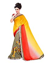 Texclusive Women's jacquard and georgette Saree with Blouse Piece