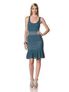 Catherine Malandrino Women's Sleeveless Mixed Pointelle Dress (Teal)
