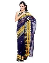 B3Fashion Handloom Traditional Navy Blue Bengal Tangail saree