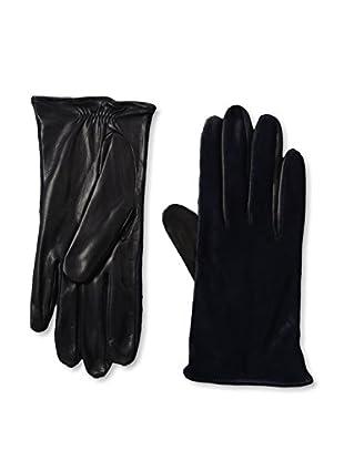 Portolano Women's Silk-Lined Leather Glove with Haircalf Top (Navy/Navy Haircalf)