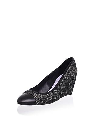 Delman Women's Marie Tweed Wedge Pump (Black)