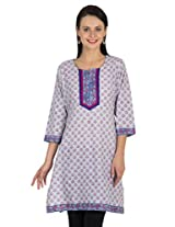Sohniye Block Printed Cotton Kurta-Grey Color