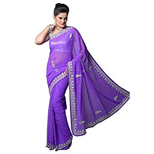 Faux Lavender Colored Georgette Saree - Model Number 7236 by Aarti Saree
