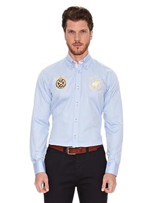 Polo Club Camisa Manga Larga Semientallada Winston (Azul Celeste)