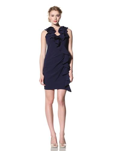 Eva Franco Women's Cecile Sleeveless Dress with Side Ruffle (Navy)