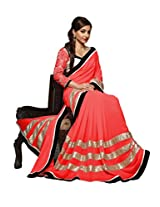 Vivera Superb Georgette saree with Embroidery Blouse piece.SO_RED