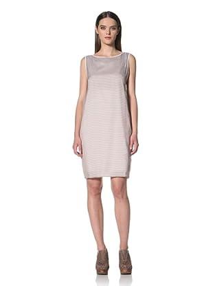 JIL SANDER NAVY Women's Sleeveless Belt Backstriped Dress (BeigeMulti)