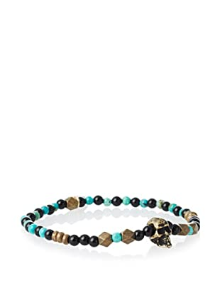 Ettika Men's Turquoise and Onyx Skull Bracelet