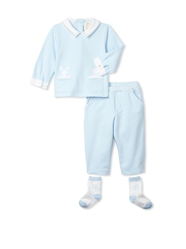 Emile et Rose Baby Boy's Two-Piece Appliqué Top and Trousers (Pale Blue)
