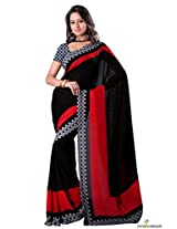 Faux Georgette Printed Saree In Black and Red Colour