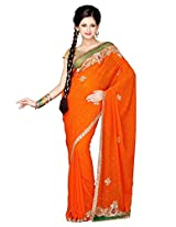 Utsav Fashion Women's Dark Orange Faux Chiffon Saree with Blouse