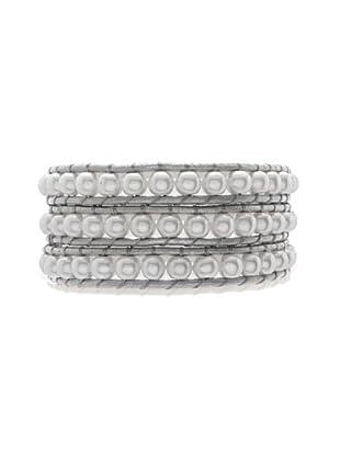 Lucie & Jade Echtleder-Armband Imitationsperlen silber/weiß