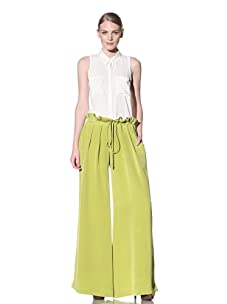 Christian Siriano Women's Drawstring Wide Leg Pant (Chartreuse)