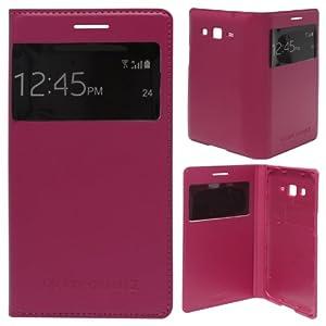 DMG Leather Stitch Flip Cover S View Case for Samsung Galaxy Grand 2 G7102 (Fusion Red) + Bonus DMG Wrisstband