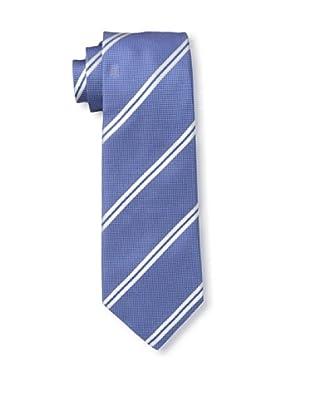 Rossovivo Men's Dot Stripe Tie, Light Blue