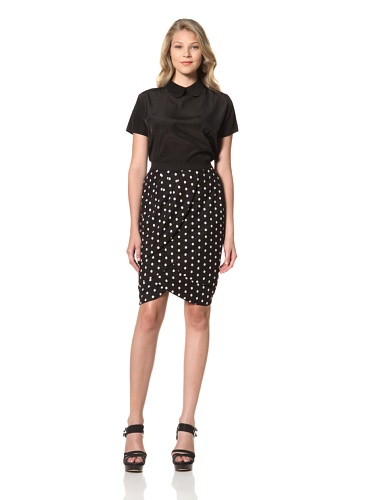 Eva Franco Women's Petal Inverted Tiered Pencil Skirt (Coco Dot)