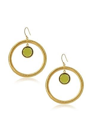 Jamie Young Large Halo Earrings, Green Zircon